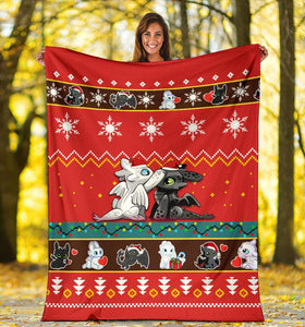 Toothless Light Fury Christmas Blanket