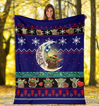 Load image into Gallery viewer, Moon Baby Yoda Christmas Blanket