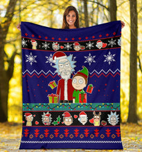 Load image into Gallery viewer, Rick And Morty Blue Christmas Christmas Blanket