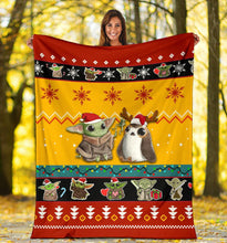 Load image into Gallery viewer, Red Yellow Baby Yoda Christmas Blanket