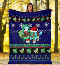 Load image into Gallery viewer, Blue Gearzime Pokemon Ugly Holiday Fleece Blanket