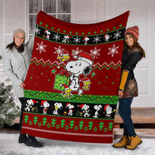 Load image into Gallery viewer, Red Snoopy Christmas Blanket