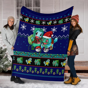 Blue Gearzime Pokemon Ugly Holiday Fleece Blanket