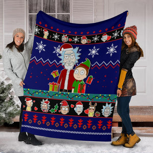 Rick And Morty Blue Christmas Christmas Blanket