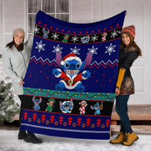Load image into Gallery viewer, Blue Lilo & Stitch Christmas Blanket