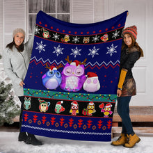 Load image into Gallery viewer, Owl Blue Christmas Blanket