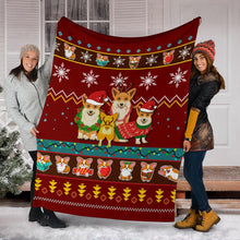 Load image into Gallery viewer, Red Corgi Christmas Blanket
