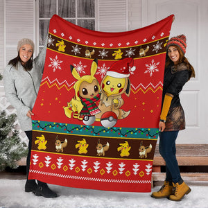 Gearzime Pokemon Christmas Blanket Ugly Fleece
