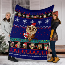Load image into Gallery viewer, Owl Cute Blue Christmas Blanket