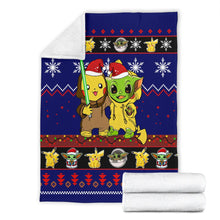 Load image into Gallery viewer, Pikachu Yoda Christmas Blanket