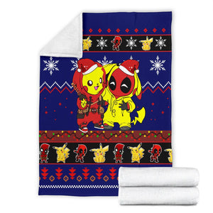 Pikachu Deadpool Christmas Blanket