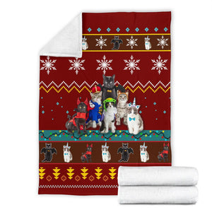 Red Cat Christmas Blanket