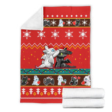 Load image into Gallery viewer, Toothless Light Fury Christmas Blanket