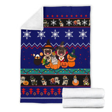 Load image into Gallery viewer, Halloween Pug Dog Christmas Blanket