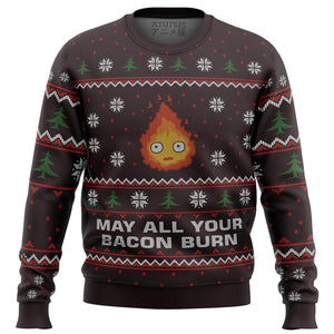 Ghibli May All Your Bacon Burn Premium Ugly Christmas Sweater