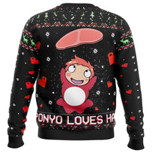 Load image into Gallery viewer, Ghibli Ponyo Loves Ham Premium Ugly Christmas Sweater