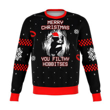 Load image into Gallery viewer, Lord of the Rings filthy hobitses Premium Ugly Christmas Sweater