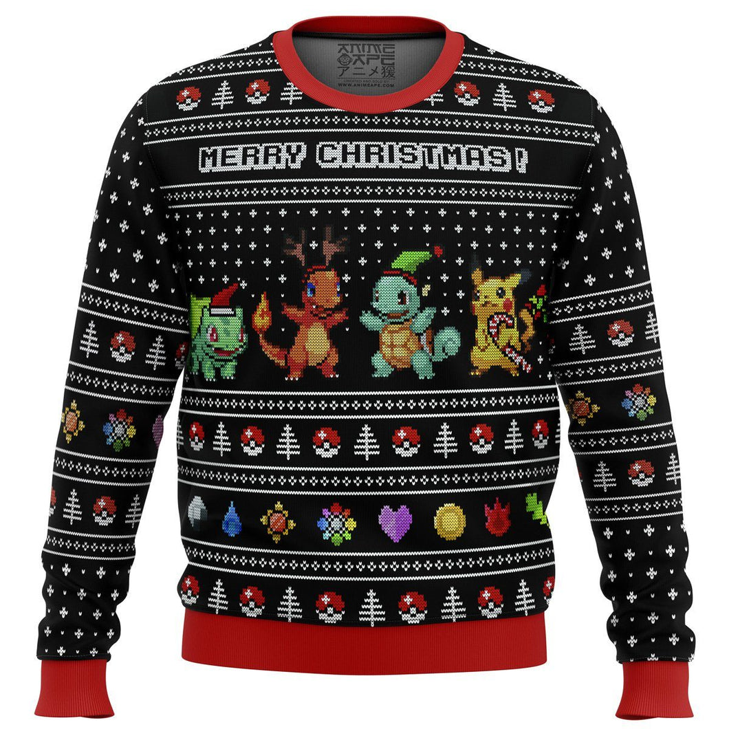 Pokemon Starters Premium Ugly Christmas Sweater