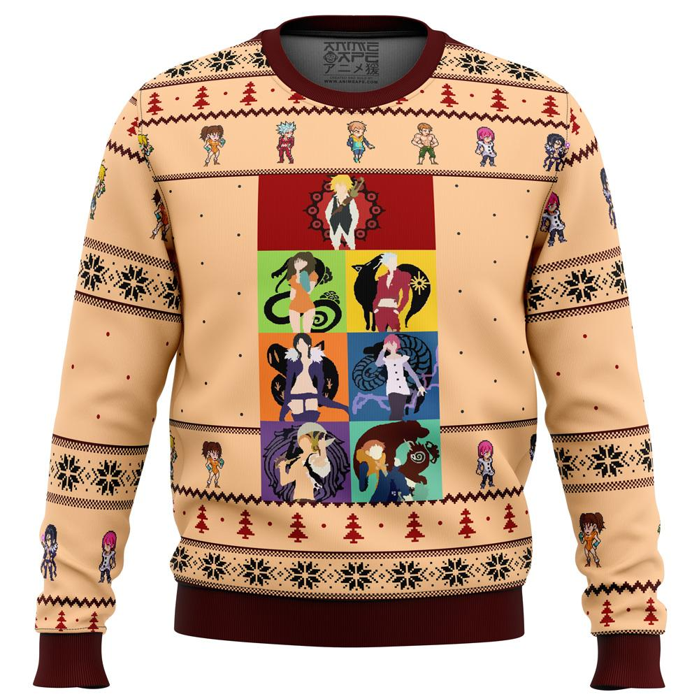 Seven Deadly Sins Minimal Premium Ugly Christmas Sweater