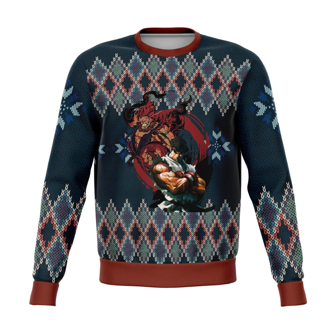 Street Fighter Ryu and Akuma Premium Ugly Christmas Sweater