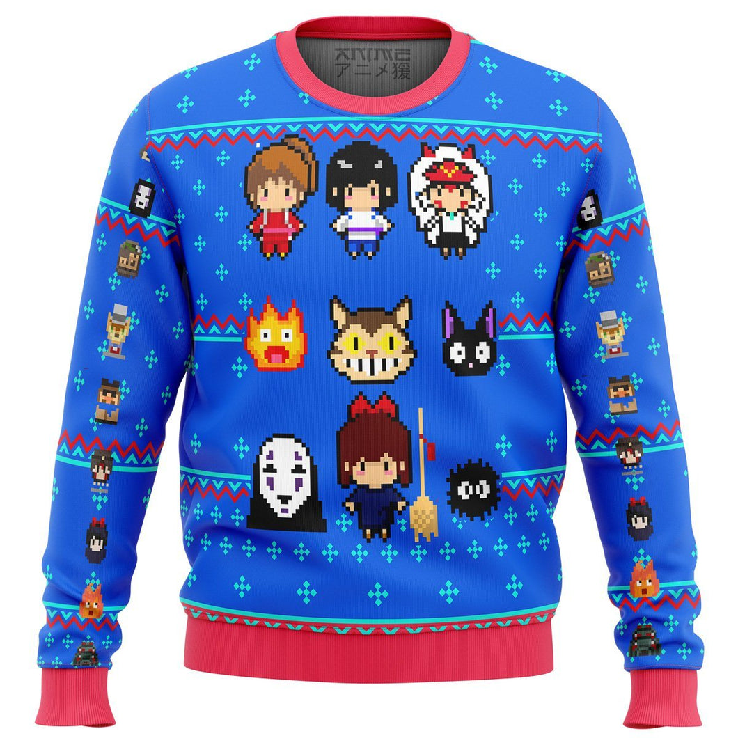 Studio Ghibli Blue Premium Ugly Christmas Sweater
