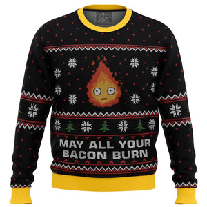 Studio Ghibli May All Your Bacon Burn Calcifer Howl's Moving Castle Miyazaki Premium Ugly Christmas Sweater