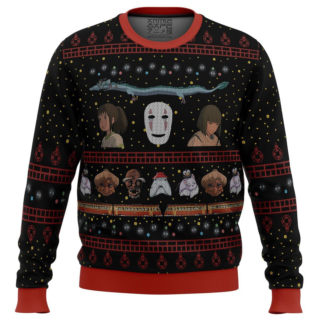 Studio Ghibli No Face Spirited Away Premium Ugly Christmas Sweater