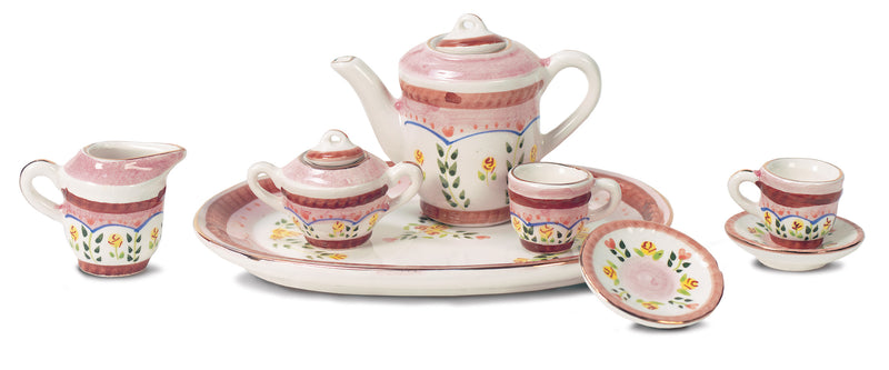 Shaded Pink Tea Set with Floral Spray Design