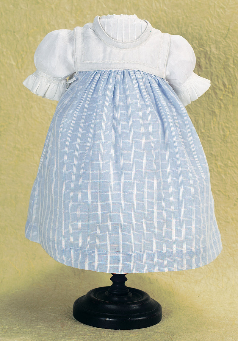 White Cotton Voile Dress With Blue Pinafore