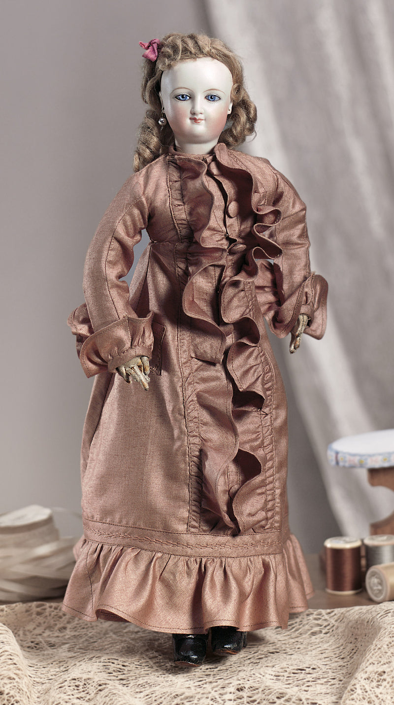 Brown Silk Lady Doll Gown
