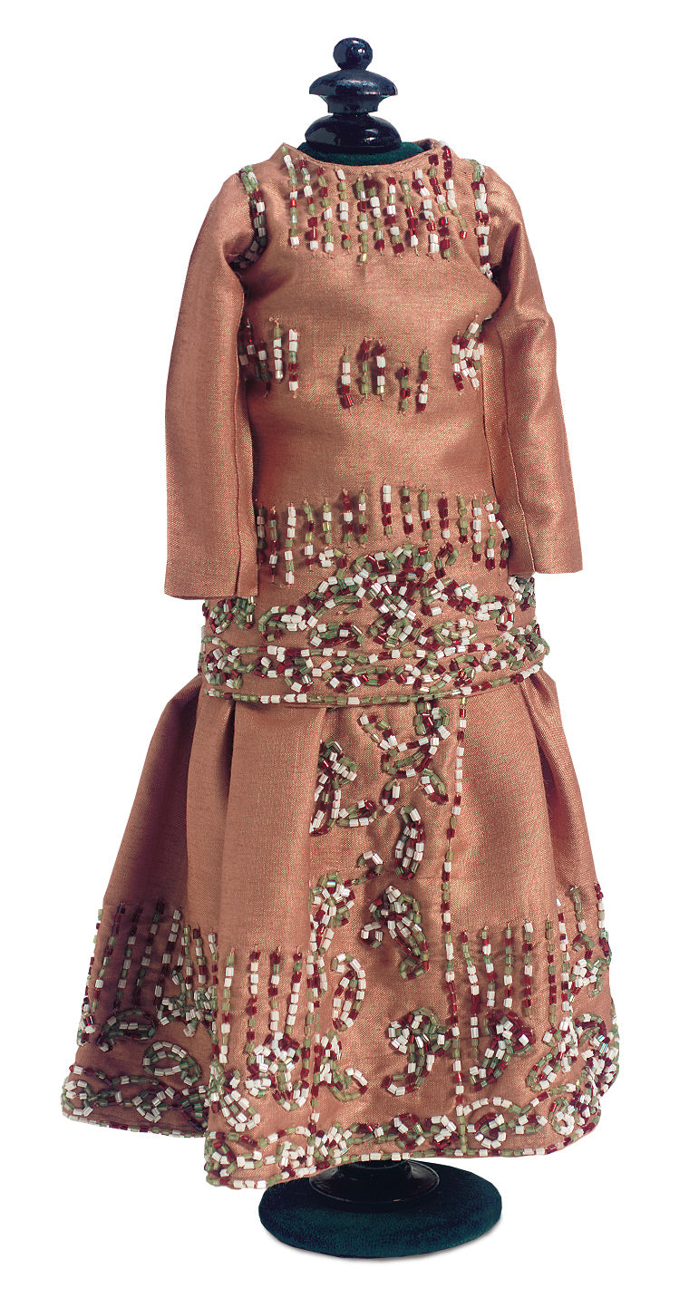 Sandstone Silk Beaded 2 Piece Lady Doll Gown