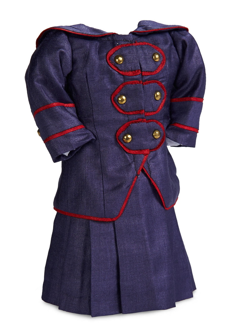 Navy Two Piece Dress With Red Piping