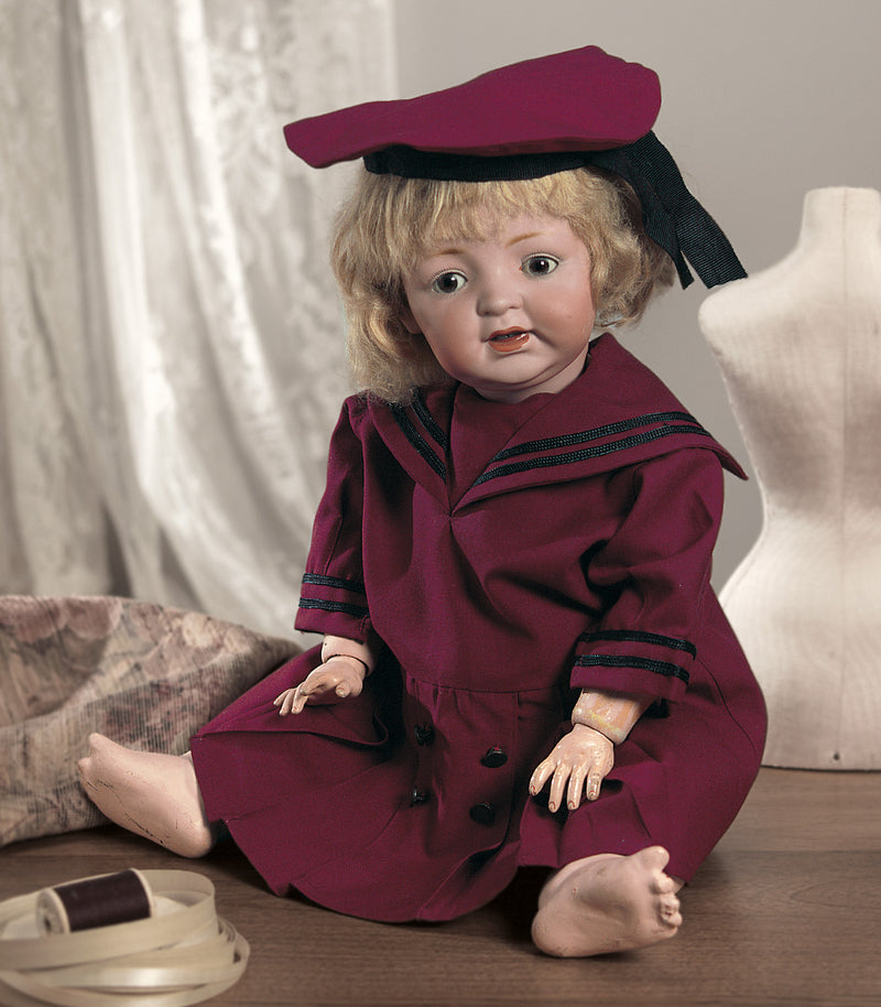Maroon Toddler Sailor Suit with Cap