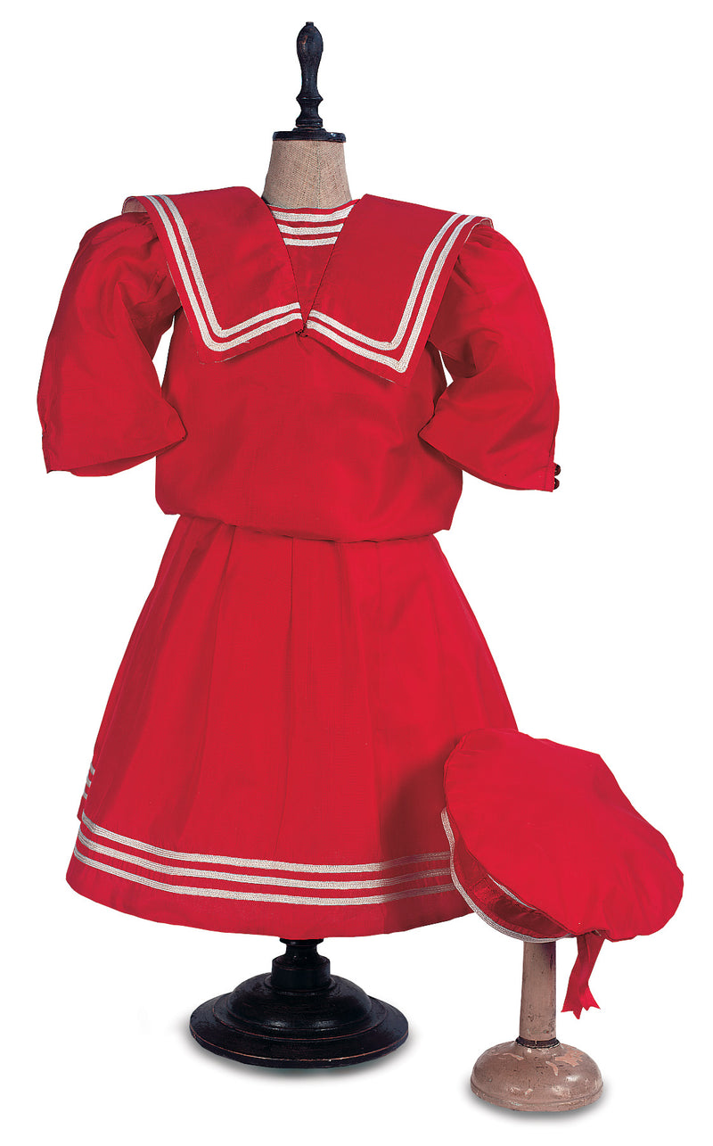 Red Silk Sailor Dress & Cap