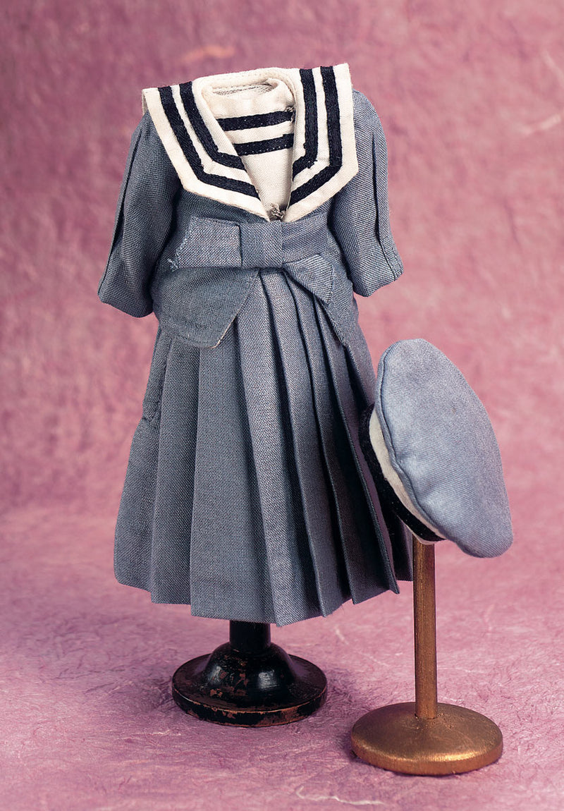 Smoke Blue Polished Silk Sailor Ensemble with Cap