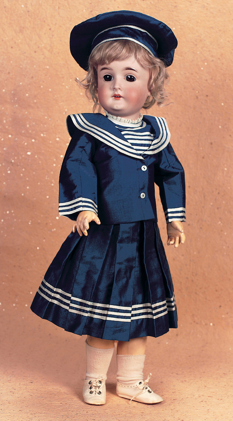 Navy Blue Tussah Silk Four Piece Sailor Ensemble