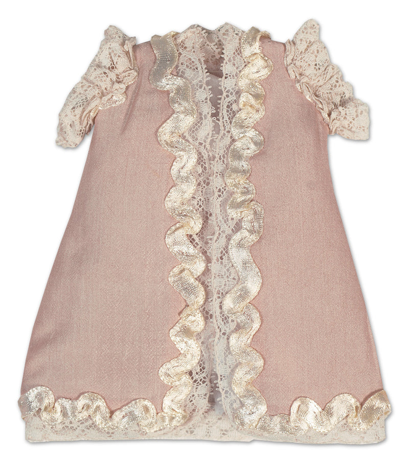 Peach Tussah Silk Doll Dress With Ivory Silk Ribbon