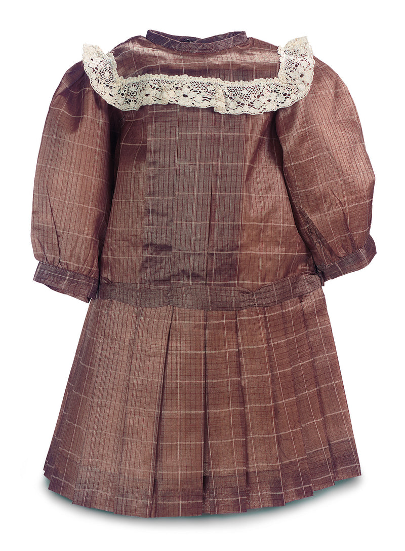 Patterned Brown Silk Dress