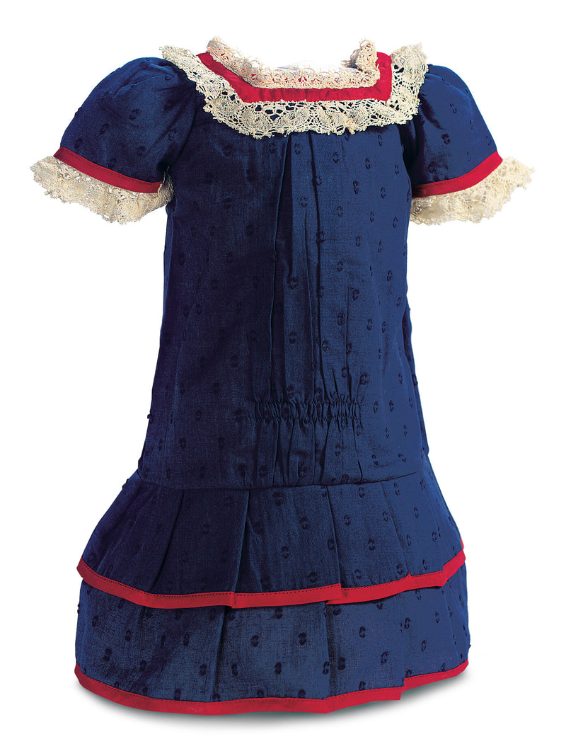 Navy Blue Dotted Swiss Dress With Lace