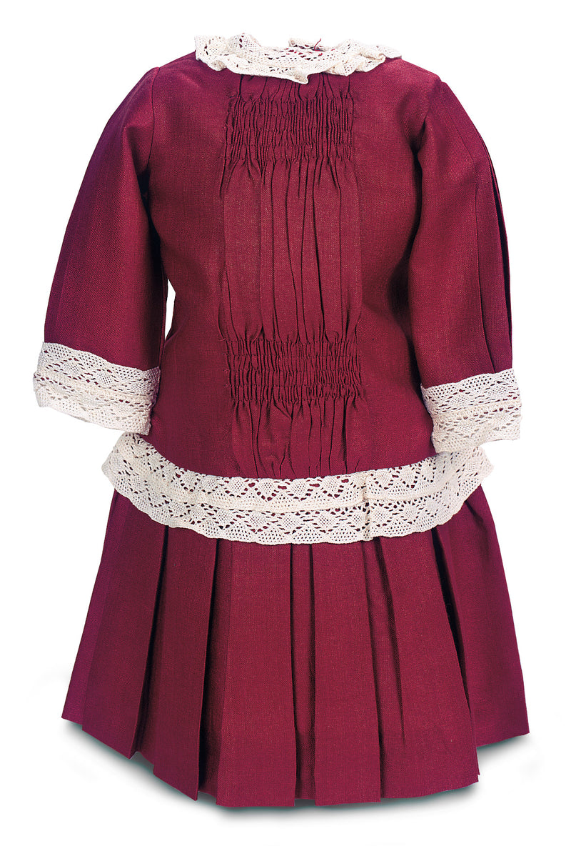 Maroon Silk Dress With Lace Trim