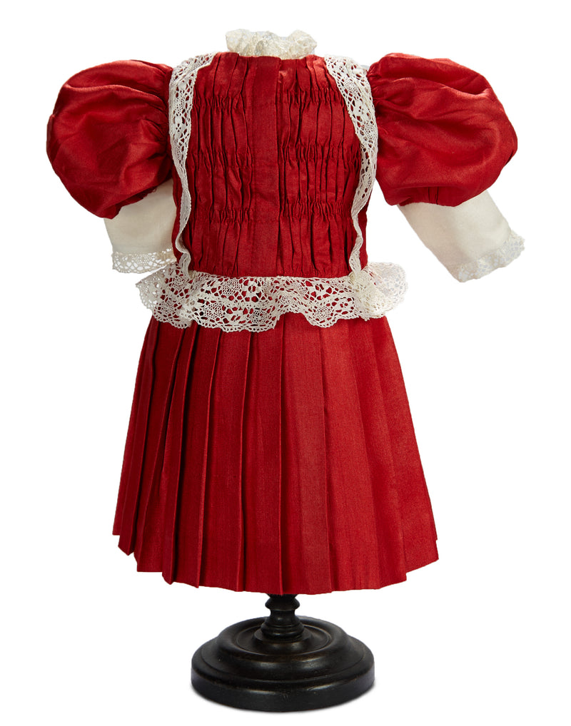 CHERRY-RED SILK BEST DRESS WITH RUFFLED BONNET