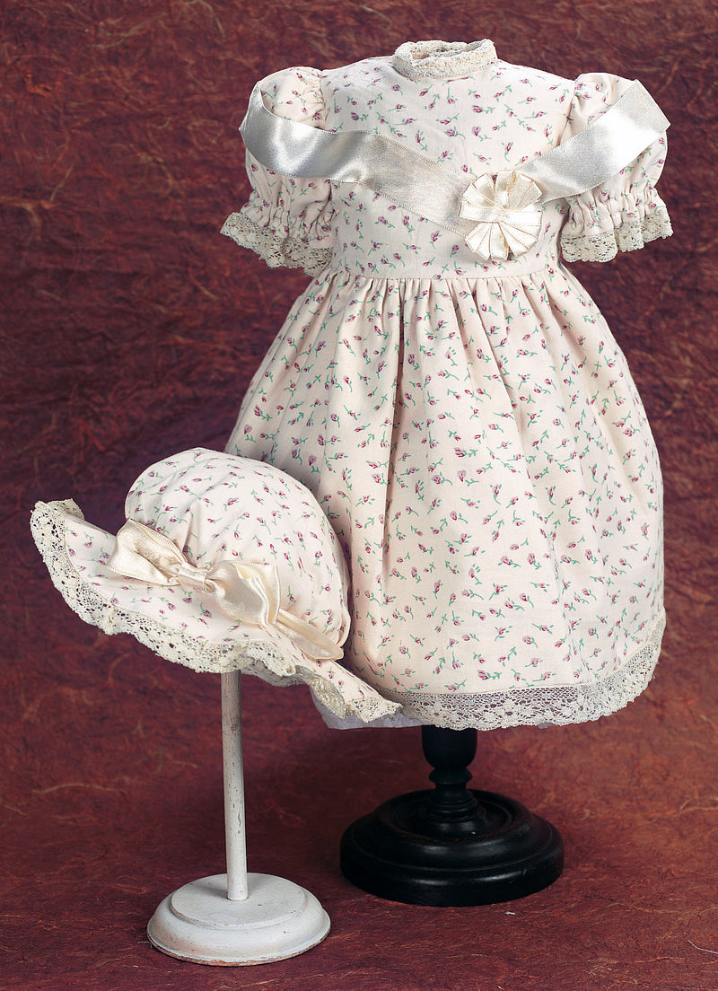 Cream and Lilacs Cotton Dress & Bonnet
