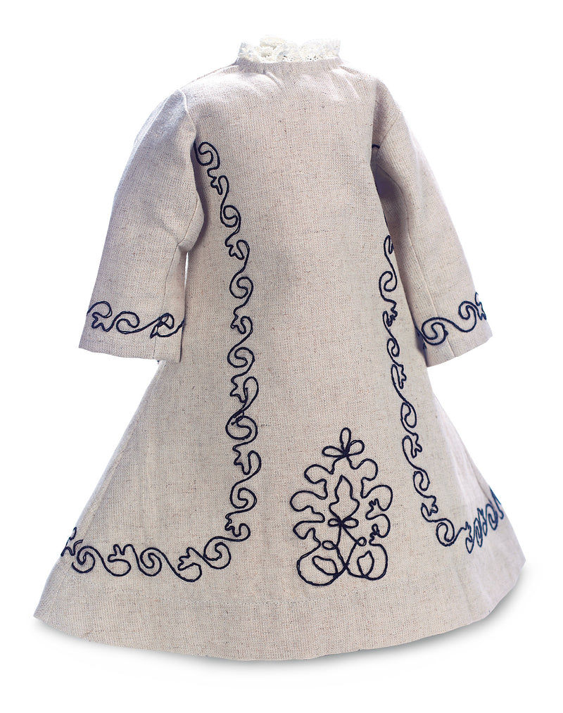 Linen Like Cotton Dress With Black Soutache Embroidery