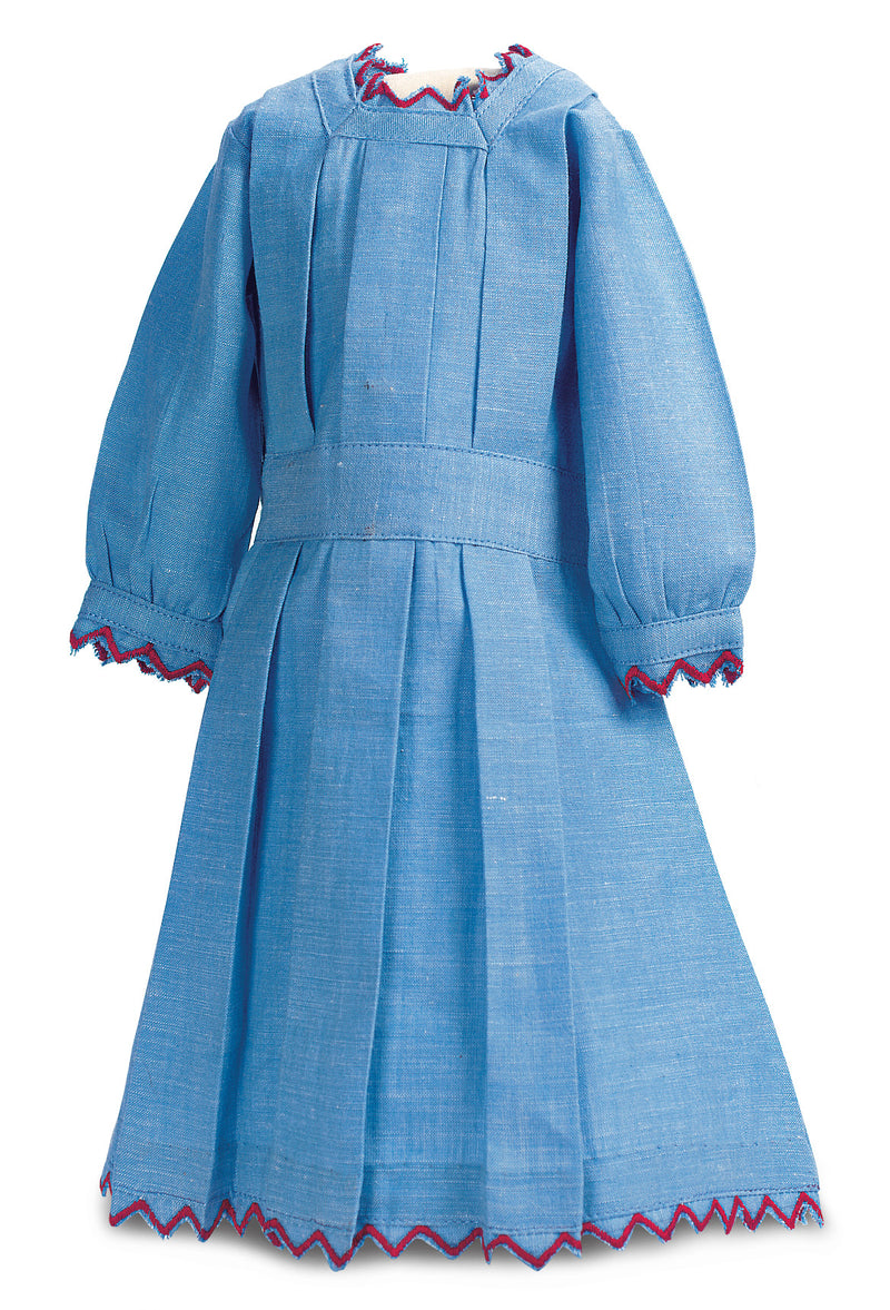 Blue Cotton Chambray Summer Dress With Red Trim