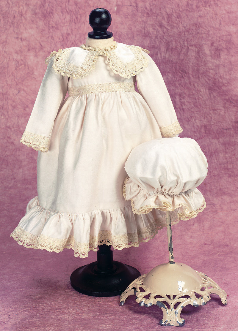Ivory Silk Dress & Charlotte Bonnet