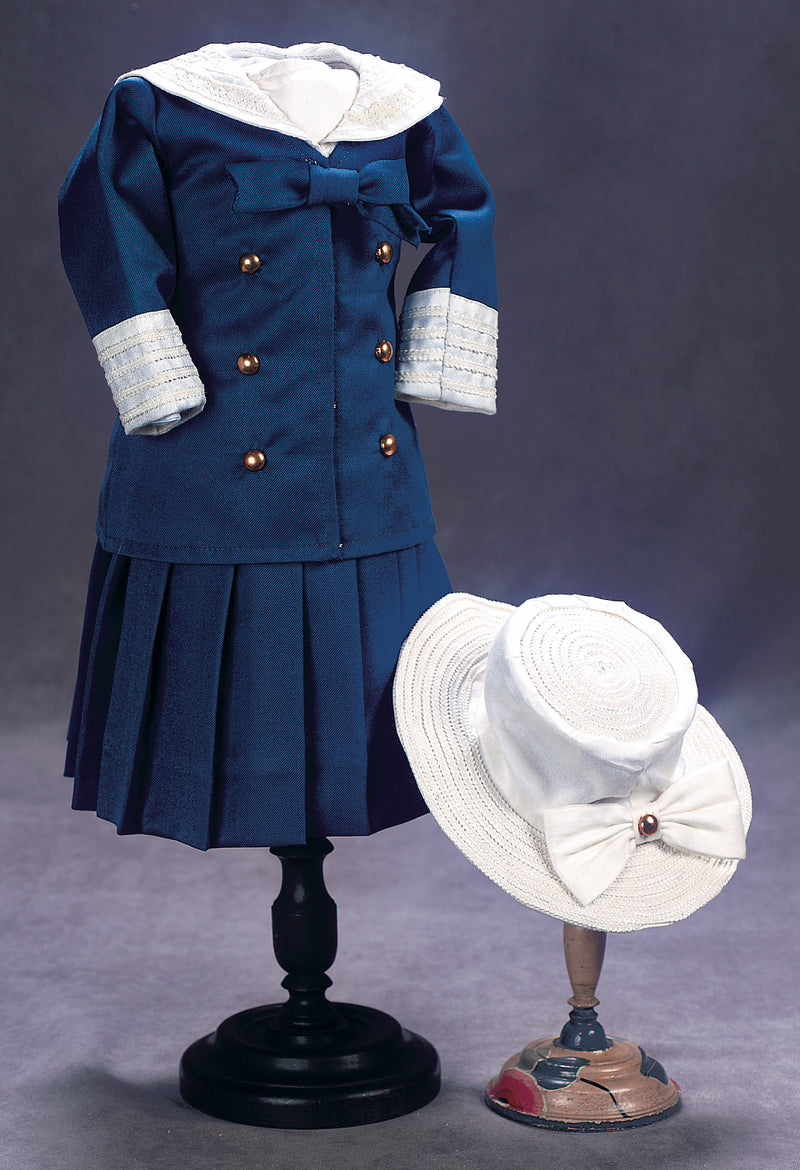 Navy Dress With Jacket & Cream Hat