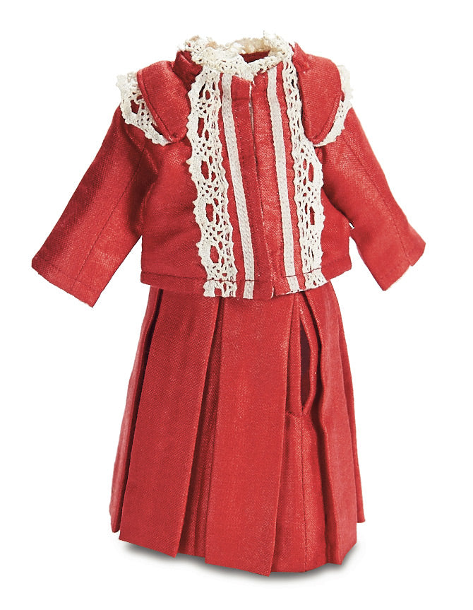 Red Silk Two-Piece Doll Dress