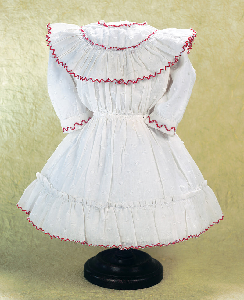 White Dotted Swiss Cotton Dress with Red Scalloped Edging
