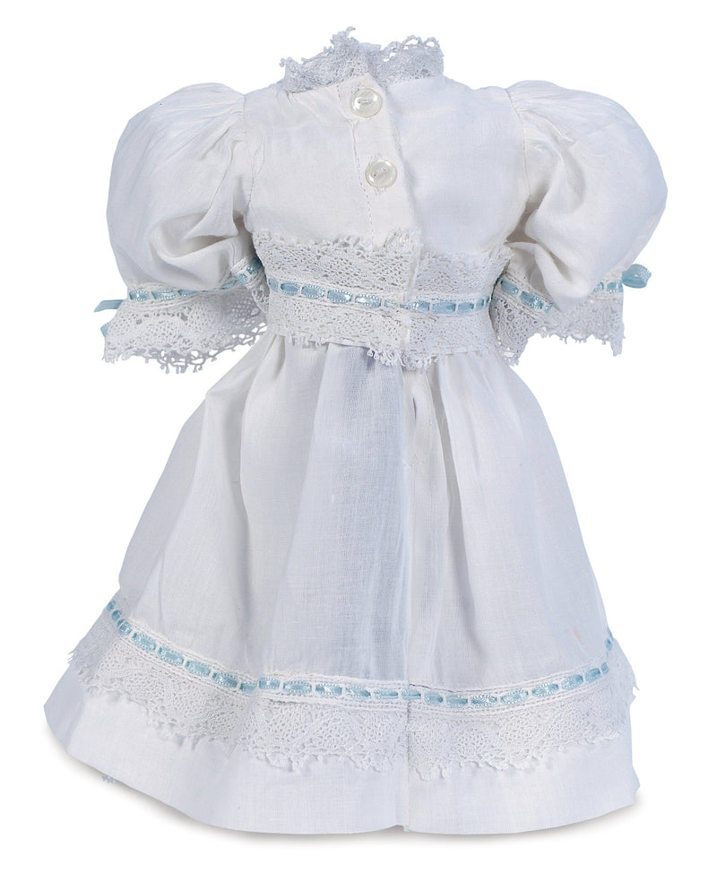 White Cotton Dress with Blue Silk Ribbons