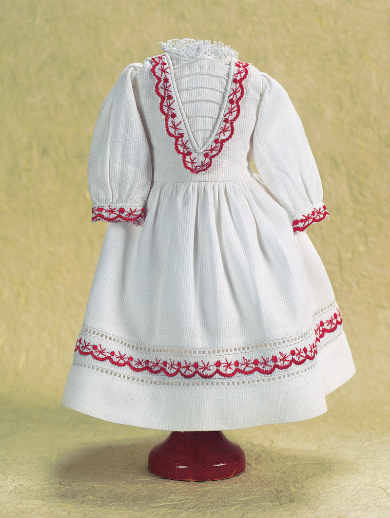 White Pique School Dress With Red Scalloped Trim